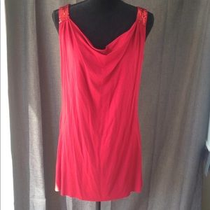 Adrienne Vittadini Red sequins L collar new blouse